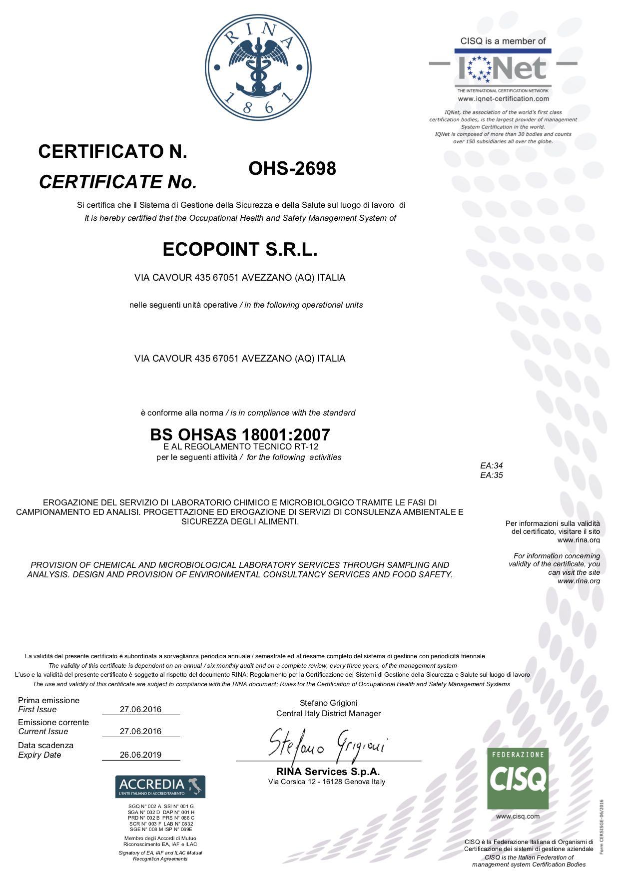 Certificato OHSAS 18001-2007